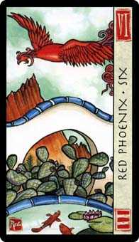 Six of Ghosts Tarot Card - Feng Shui Tarot Deck