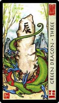 Three of Discs Tarot Card - Feng Shui Tarot Deck