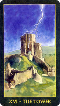 The Blasted Tower Tarot Card - Forest Folklore Tarot Deck