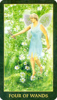 Four of Rods Tarot Card - Forest Folklore Tarot Deck
