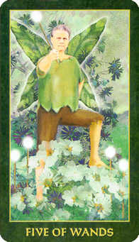 Five of Sceptres Tarot Card - Forest Folklore Tarot Deck