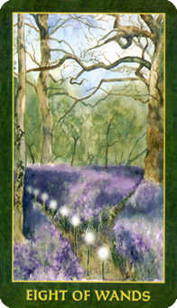 Eight of Rods Tarot Card - Forest Folklore Tarot Deck