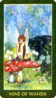 Nine of Batons Tarot Card - Forest Folklore Tarot Deck