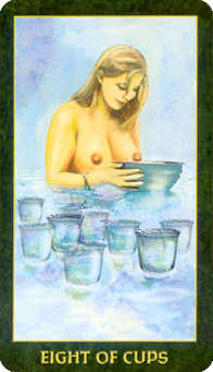 Eight of Bowls Tarot Card - Forest Folklore Tarot Deck