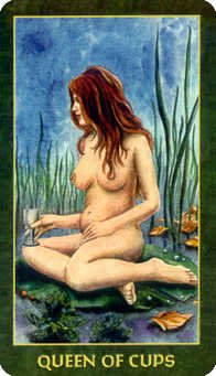 Queen of Bowls Tarot Card - Forest Folklore Tarot Deck
