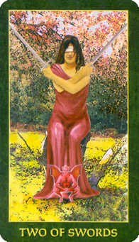 Two of Swords Tarot Card - Forest Folklore Tarot Deck