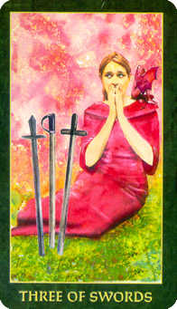 Three of Arrows Tarot Card - Forest Folklore Tarot Deck