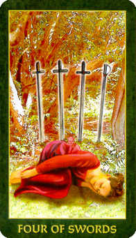 Four of Swords Tarot Card - Forest Folklore Tarot Deck