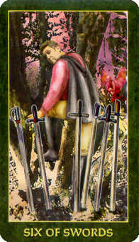 Six of Arrows Tarot Card - Forest Folklore Tarot Deck