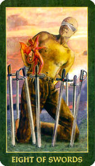 Eight of Arrows Tarot Card - Forest Folklore Tarot Deck