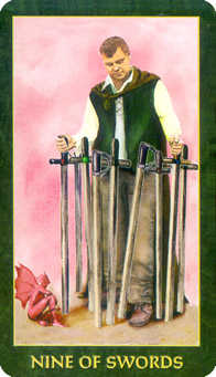 Nine of Arrows Tarot Card - Forest Folklore Tarot Deck