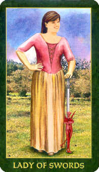 Daughter of Swords Tarot Card - Forest Folklore Tarot Deck