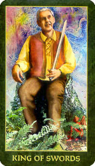 Roi of Swords Tarot Card - Forest Folklore Tarot Deck