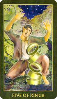 Five of Discs Tarot Card - Forest Folklore Tarot Deck