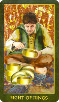 Eight of Coins Tarot Card - Forest Folklore Tarot Deck