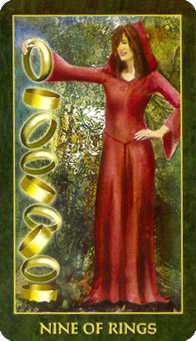Nine of Discs Tarot Card - Forest Folklore Tarot Deck