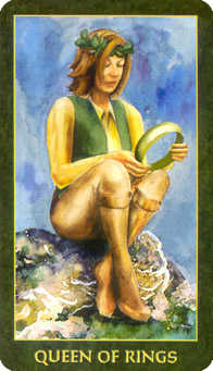 Reine of Coins Tarot Card - Forest Folklore Tarot Deck