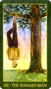 The Hanged Man Tarot card in Forest Folklore deck