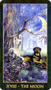 The Moon Tarot card in Forest Folklore deck