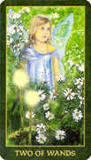 Two of Wands Tarot card in Forest Folklore deck