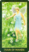 Four of Wands Tarot card in Forest Folklore deck