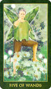 Five of Wands Tarot card in Forest Folklore deck