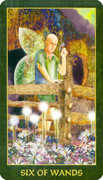 Six of Wands Tarot card in Forest Folklore deck