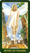 Seven of Wands Tarot card in Forest Folklore deck