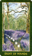 Eight of Wands Tarot card in Forest Folklore deck