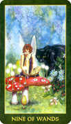 Nine of Wands Tarot card in Forest Folklore deck