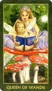 Queen of Wands Tarot card in Forest Folklore deck