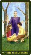 The Hierophant Tarot card in Forest Folklore deck
