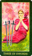 Three of Swords Tarot card in Forest Folklore deck
