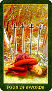 Four of Swords Tarot card in Forest Folklore deck