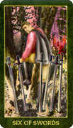 Six of Swords Tarot card in Forest Folklore deck