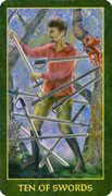 Ten of Swords Tarot card in Forest Folklore deck