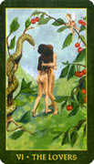The Lovers Tarot card in Forest Folklore deck