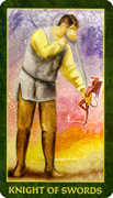 Knight of Swords Tarot card in Forest Folklore deck
