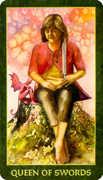 Queen of Swords Tarot card in Forest Folklore deck