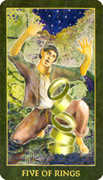 Five of Rings Tarot card in Forest Folklore deck