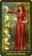 Nine of Rings Tarot card in Forest Folklore deck