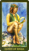 Queen of Rings Tarot card in Forest Folklore deck
