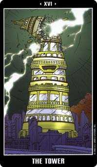 The Blasted Tower Tarot Card - Fradella Tarot Deck