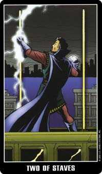 Two of Sceptres Tarot Card - Fradella Tarot Deck