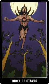 Three of Wands Tarot Card - Fradella Tarot Deck