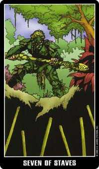 Seven of Rods Tarot Card - Fradella Tarot Deck