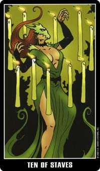 Ten of Staves Tarot Card - Fradella Tarot Deck