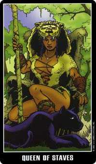 Queen of Batons Tarot Card - Fradella Tarot Deck