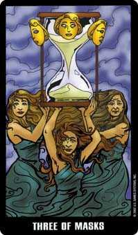 Three of Bowls Tarot Card - Fradella Tarot Deck