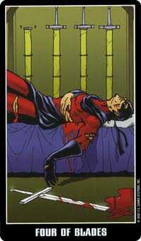 Four of Swords Tarot Card - Fradella Tarot Deck